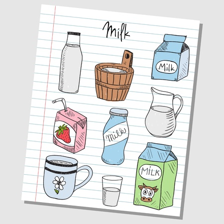 Illustration of milk colored doodles on lined paper Vector