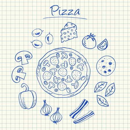 ham and cheese: Illustration of pizza ink doodles on squared paper