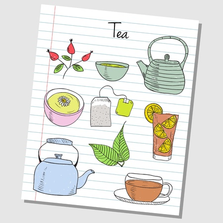 Illustration of tea colored doodles on lined paper Stock Vector - 20467942