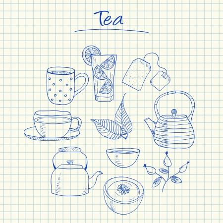 Illustration of tea ink doodles on squared paper Stock Vector - 20467938
