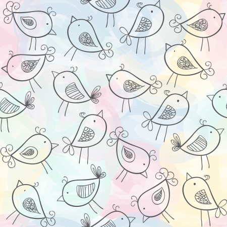 Illustration of birds on watercolor seamless pattern background Vector