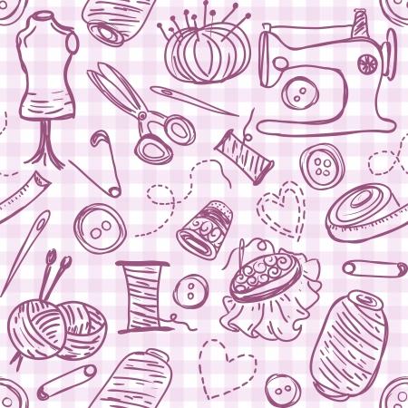 Illustratie van het naaien van doodles op naadloze patroon achtergrond Stockfoto - 20693069