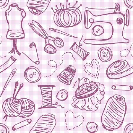 Illustration of sewing doodles on seamless pattern background