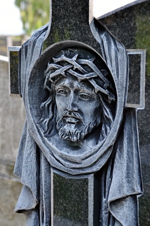Head of Jesus Christ carved in the cross Stock Photo - 21783018