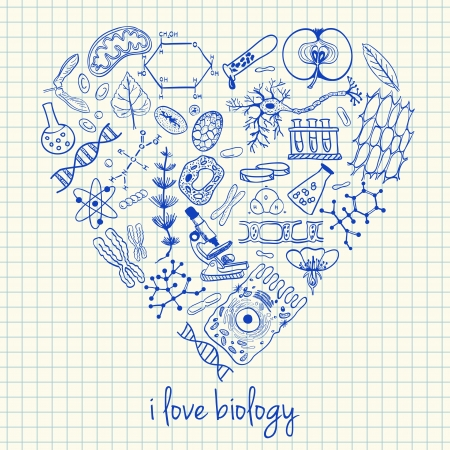 Illustration of biology doodles in heart shape Stock Illustratie