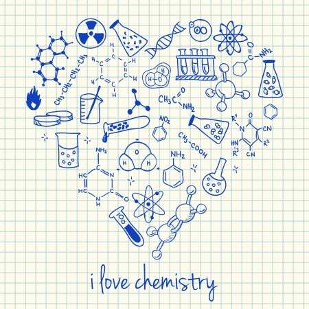 Illustration of chemistry doodles in heart shape