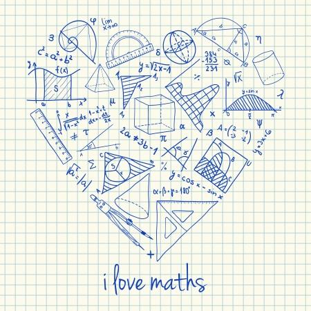 Illustration de mathématiques doodles en forme de coeur