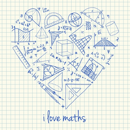 math icon: Illustration of maths doodles in heart shape Illustration