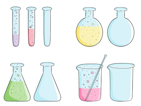 Illustration of laboratory test tubes with colored liquid and empty bottles Stock Vector - 21785693