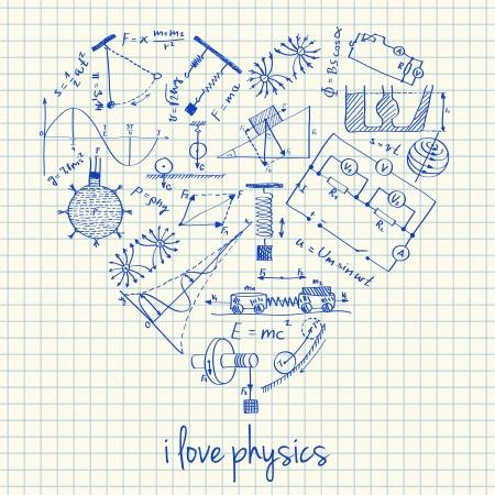 Illustratie van de fysica doodles in hartvorm