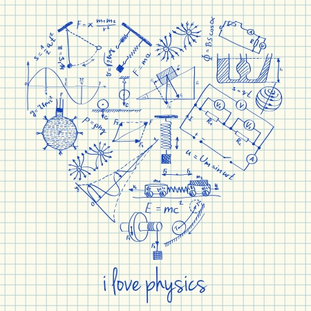 math set: Illustration of physics doodles in heart shape