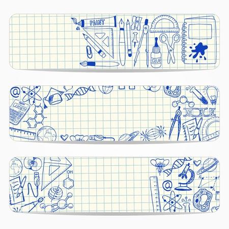 banners met school en wetenschappelijke doodles op ruitjespapier