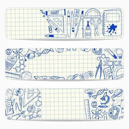 squared paper:  banners with school and scientific doodles on squared paper