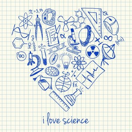 Illustration der Wissenschaft Kritzeleien in Herzform Standard-Bild - 21785699