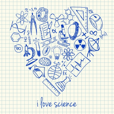 Illustration of science doodles in heart shape Vector