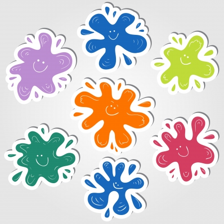 stickers with colored smiling ink blots