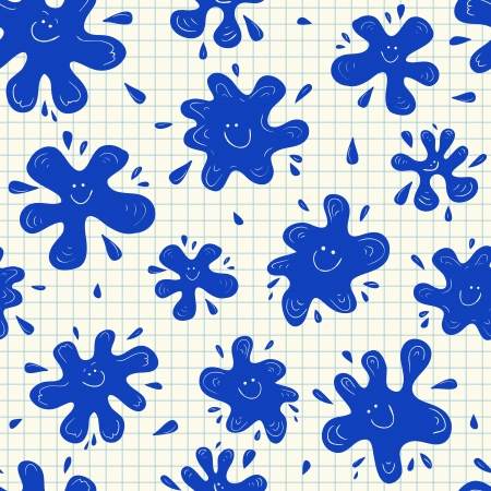 squared: Blue smiling ink blots seamless pattern on squared paper
