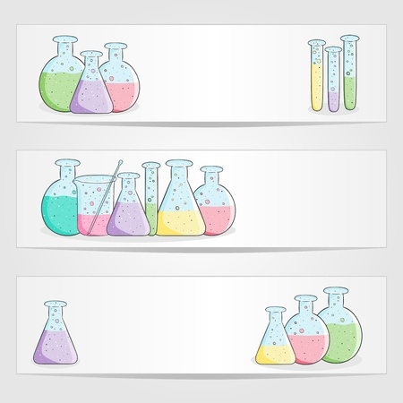 drug discovery:  banners with laboratory test tubes with colored liquid