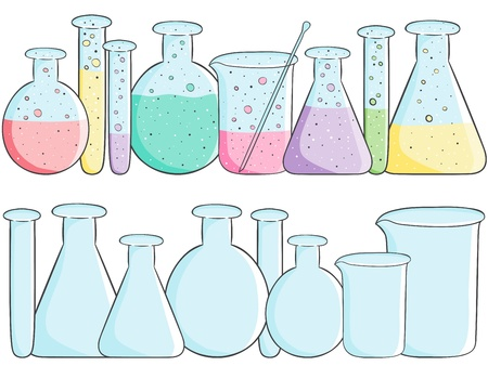 Illustration of laboratory test tubes with colored liquid and empty bottles Stock Vector - 21785706