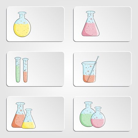 laboratory label:  banners with laboratory test tubes with colored liquid