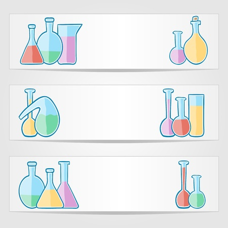 banners with laboratory test tubes with colored liquid Stock Vector - 21785708