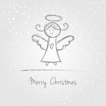 Illustratie van kerst engel met sneeuw, doodle stijl