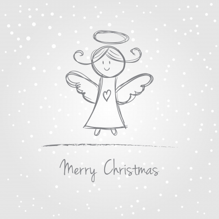 Illustration of christmas angel with snow, doodle style Vector