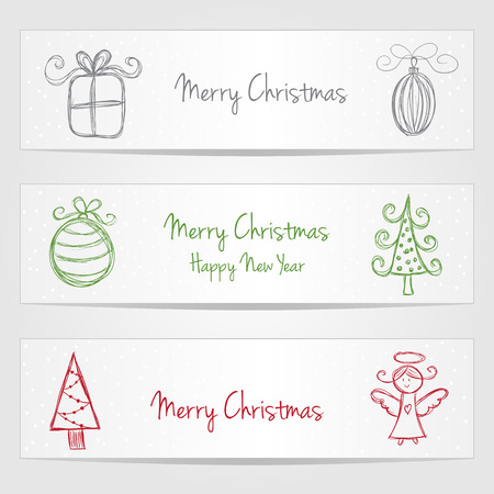 Three banners with christmas doodles and snow Vector