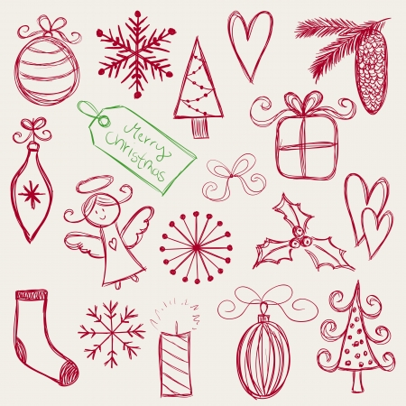 Collection of christmas hand drawn symbols - vector illustrations