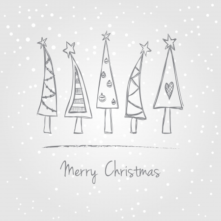 Illustration of christmas trees with snow, doodle style Illustration