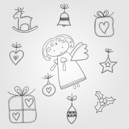 Illustration of Christmas symbols with angel, doodle style Vector