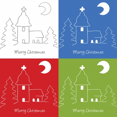 Illustration of Christmas church on hill, doodle style Vector