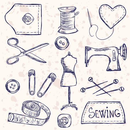 Illustratie van vintage naaien accessoires, doodle stijl
