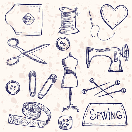 Illustration of vintage sewing accessories, doodle style Vector