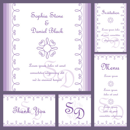 Wedding or invitation card set with ornaments Vector