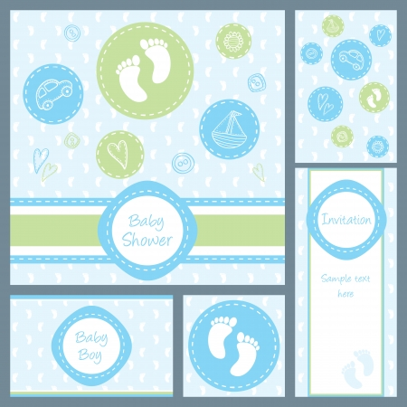 Baby boy shower, set of five cards Ilustracja