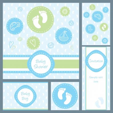 Ducha del bebé, juego de cinco cartas Foto de archivo - 24054605
