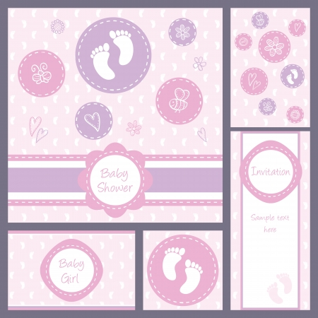 Baby girl shower, set of five cards Vector
