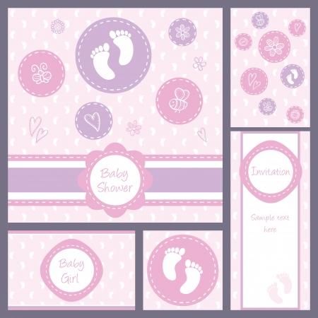 baby shower girl: Baby girl shower, set of five cards