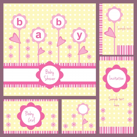 girls with bows: Baby girl shower, set of five cards