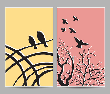 Illustration of birds on trees on cards - hand-drawn style Vector