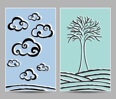 Illustration of clouds and  lonely tree cards - hand-drawn style Vector