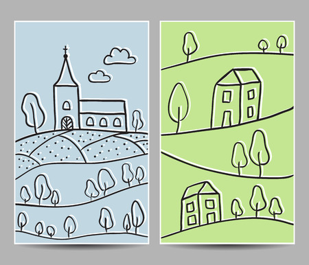 Illustration of church and village on hill cards - hand-drawn style Vector