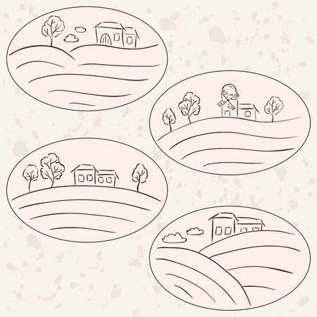 Countryside drawings - houses on hill landscape labels Stock Vector - 26041424
