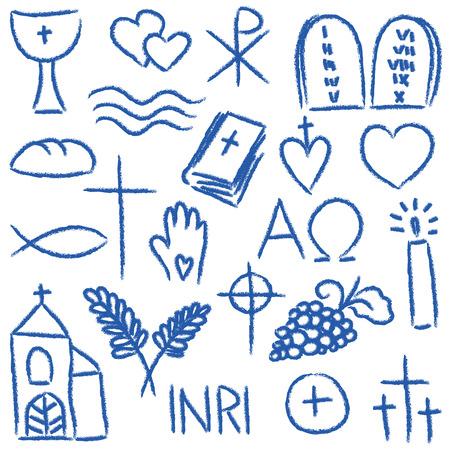 christian fish: Ilustraci�n de s�mbolos religiosos dibujados a mano - estilo calc�reo Vectores