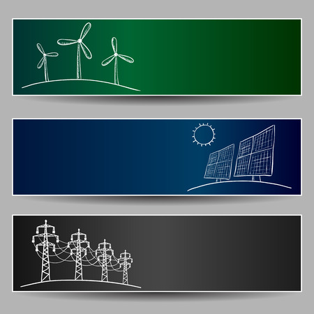 Elektriciteitscentrale energie doodles op drie banners Stock Illustratie