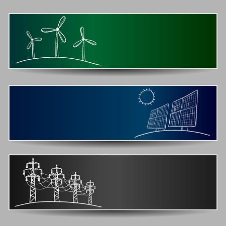 Kraftwerk Energie Kritzeleien auf drei Banner Illustration