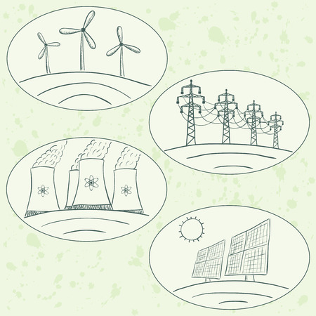 photovoltaic power station: Power station energy doodles in green labels