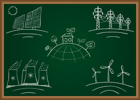 photovoltaic power station: Power station energy doodles on green table