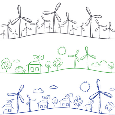 Wind turbine and town seamless background - green energy drawing Vector